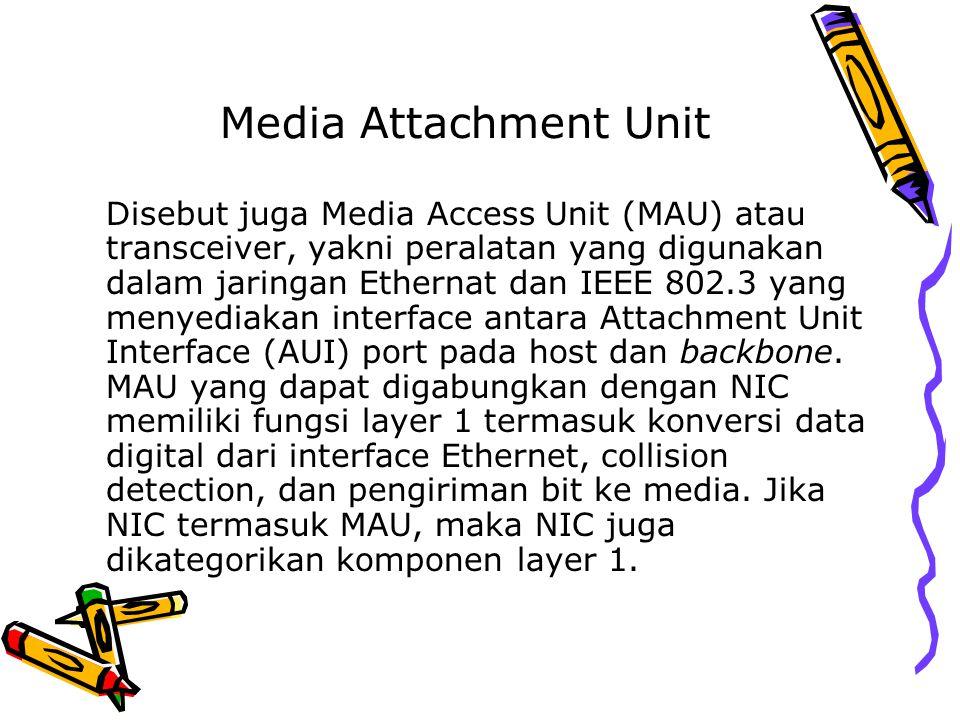 Media Attachment Unit Disebut juga Media Access Unit (MAU) atau transceiver, yakni peralatan yang digunakan dalam jaringan Ethernat dan IEEE 802.3 yan