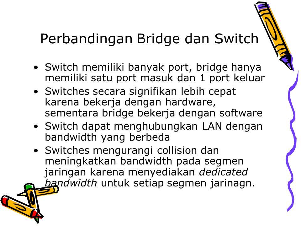 Perbandingan Bridge dan Switch Switch memiliki banyak port, bridge hanya memiliki satu port masuk dan 1 port keluar Switches secara signifikan lebih c