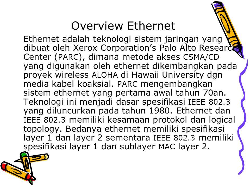 Overview Ethernet Ethernet adalah teknologi sistem jaringan yang dibuat oleh Xerox Corporation's Palo Alto Research Center ( PARC ), dimana metode aks