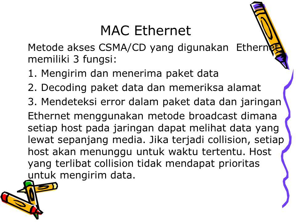 MAC Ethernet Metode akses CSMA/CD yang digunakan Ethernet memiliki 3 fungsi: 1. Mengirim dan menerima paket data 2. Decoding paket data dan memeriksa