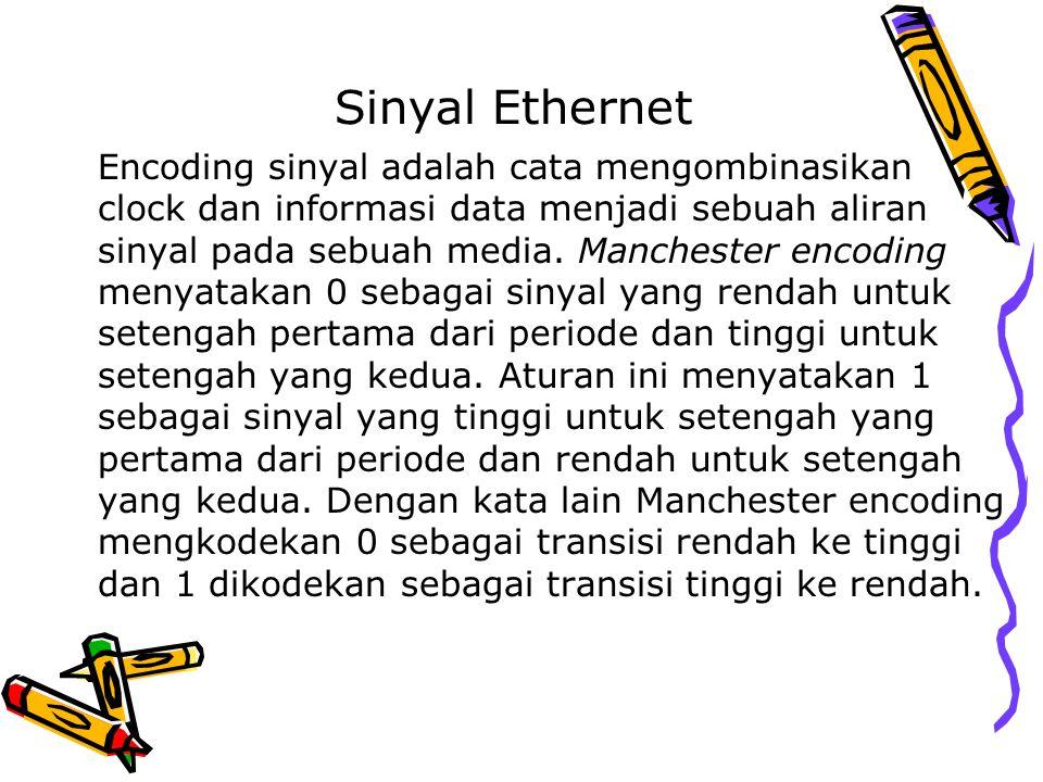 Sinyal Ethernet Encoding sinyal adalah cata mengombinasikan clock dan informasi data menjadi sebuah aliran sinyal pada sebuah media. Manchester encodi