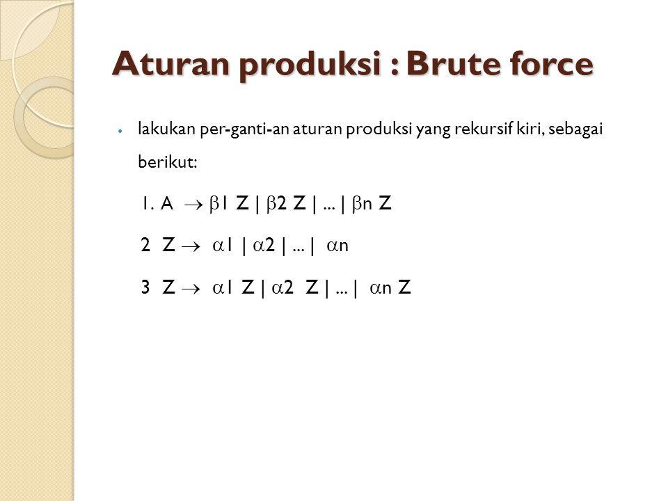 Aturan produksi : Brute force lakukan per-ganti-an aturan produksi yang rekursif kiri, sebagai berikut: 1.