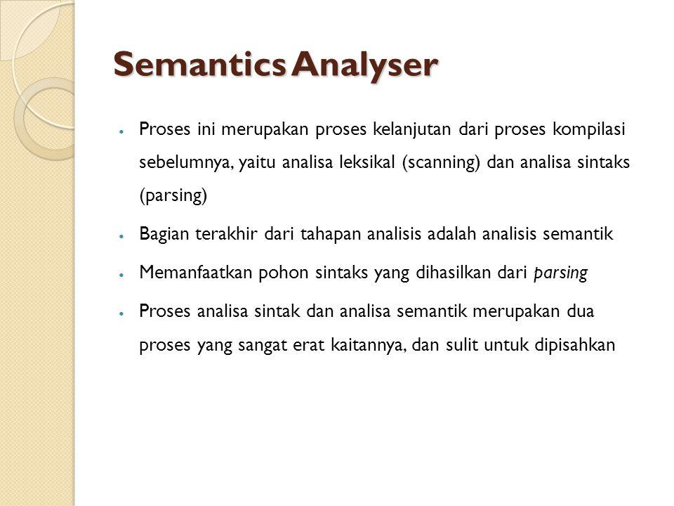 Semantics Analyser Proses ini merupakan proses kelanjutan dari proses kompilasi sebelumnya, yaitu analisa leksikal (scanning) dan analisa sintaks (parsing) Bagian terakhir dari tahapan analisis adalah analisis semantik Memanfaatkan pohon sintaks yang dihasilkan dari parsing Proses analisa sintak dan analisa semantik merupakan dua proses yang sangat erat kaitannya, dan sulit untuk dipisahkan