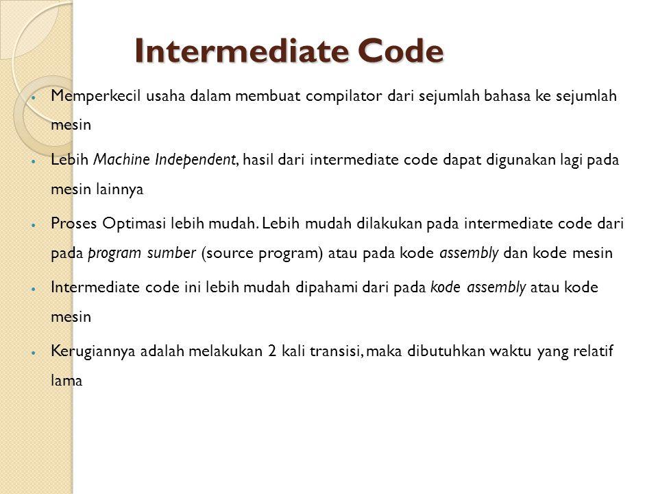Intermediate Code Memperkecil usaha dalam membuat compilator dari sejumlah bahasa ke sejumlah mesin Lebih Machine Independent, hasil dari intermediate code dapat digunakan lagi pada mesin lainnya Proses Optimasi lebih mudah.