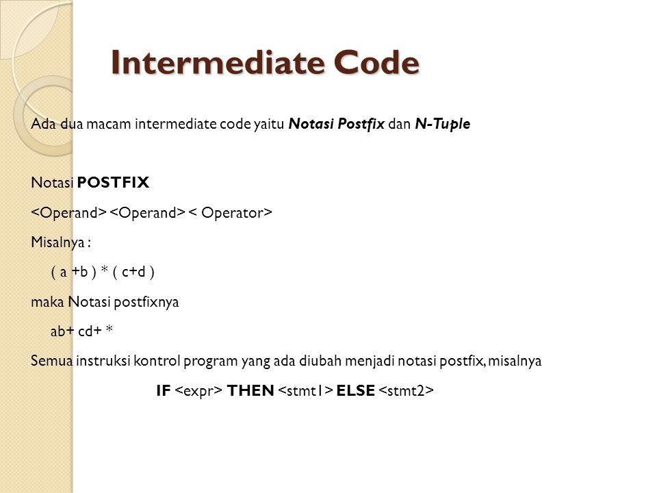 Intermediate Code Ada dua macam intermediate code yaitu Notasi Postfix dan N-Tuple Notasi POSTFIX Misalnya : ( a +b ) * ( c+d ) maka Notasi postfixnya ab+ cd+ * Semua instruksi kontrol program yang ada diubah menjadi notasi postfix, misalnya IF THEN ELSE