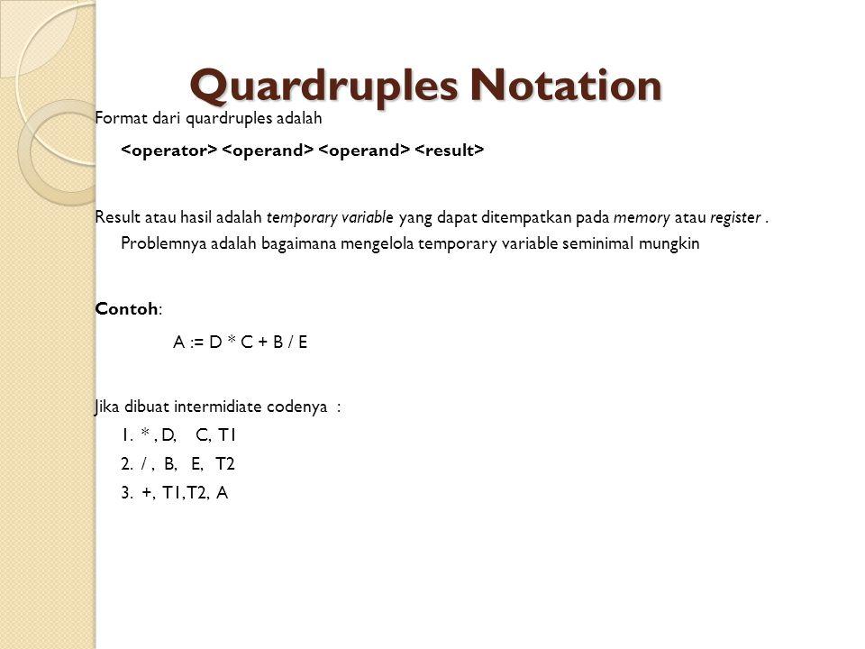 Quardruples Notation Format dari quardruples adalah Result atau hasil adalah temporary variable yang dapat ditempatkan pada memory atau register.