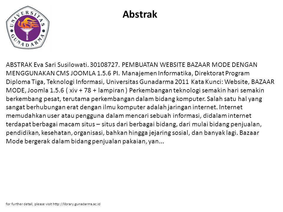 Abstrak ABSTRAK Eva Sari Susilowati. 30108727.