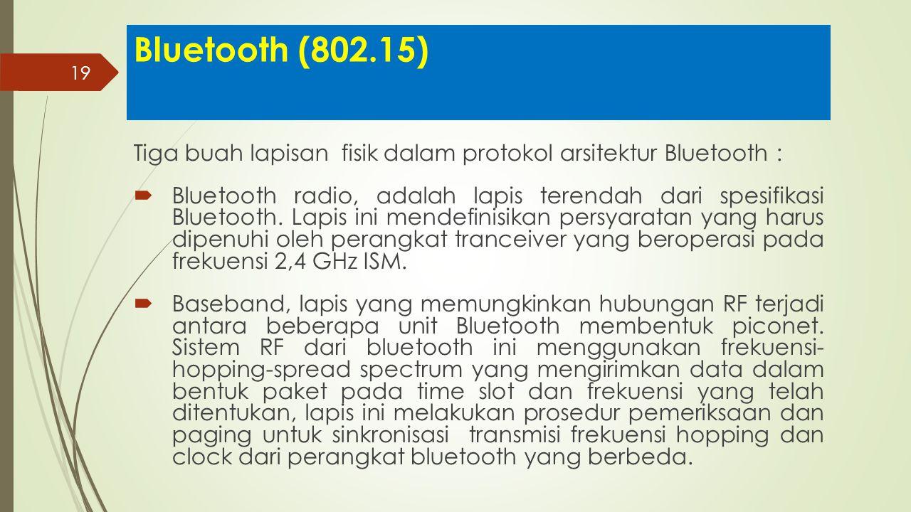 19 Bluetooth (802.15) Tiga buah lapisan fisik dalam protokol arsitektur Bluetooth :  Bluetooth radio, adalah lapis terendah dari spesifikasi Bluetoot