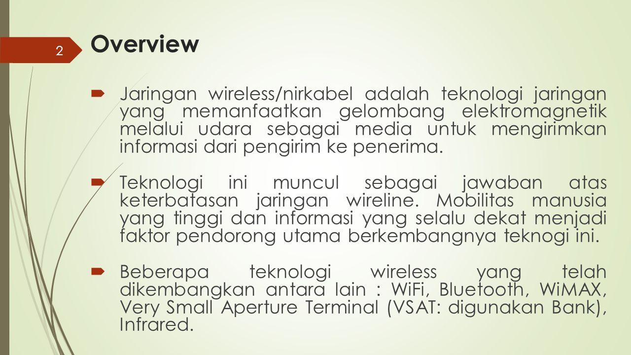 2 Overview  Jaringan wireless/nirkabel adalah teknologi jaringan yang memanfaatkan gelombang elektromagnetik melalui udara sebagai media untuk mengir