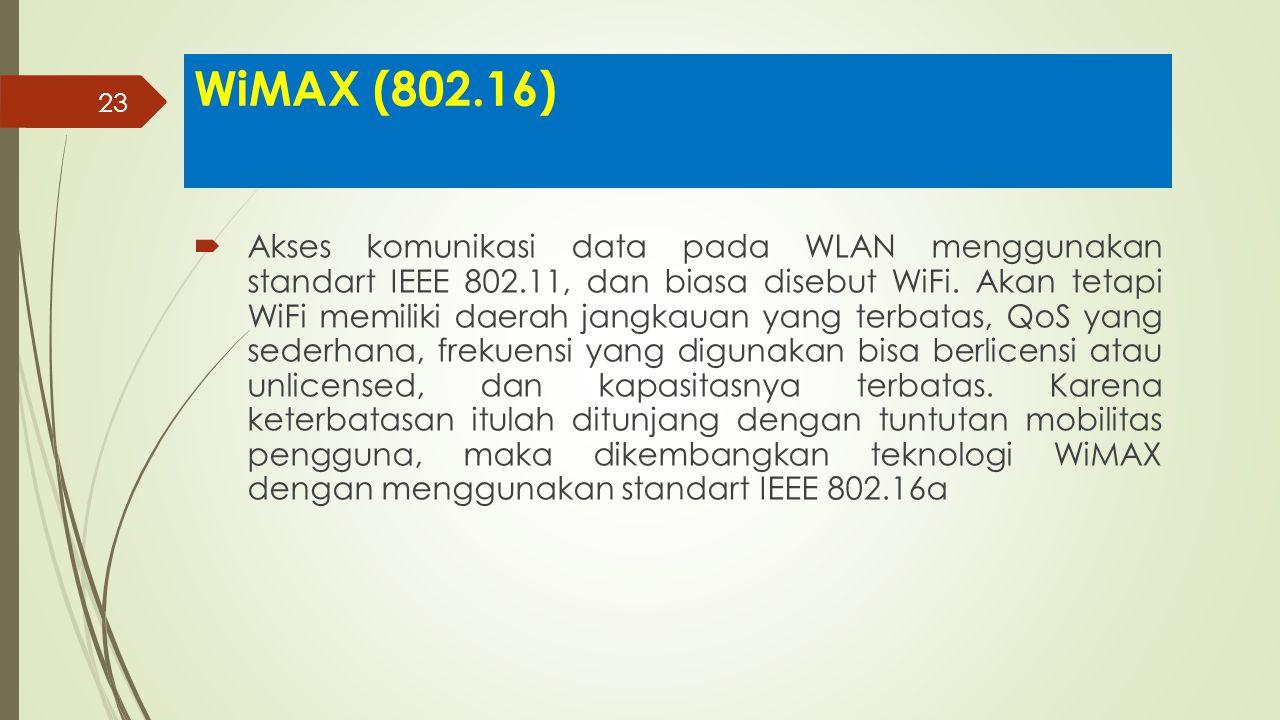 23 WiMAX (802.16)  Akses komunikasi data pada WLAN menggunakan standart IEEE 802.11, dan biasa disebut WiFi. Akan tetapi WiFi memiliki daerah jangkau