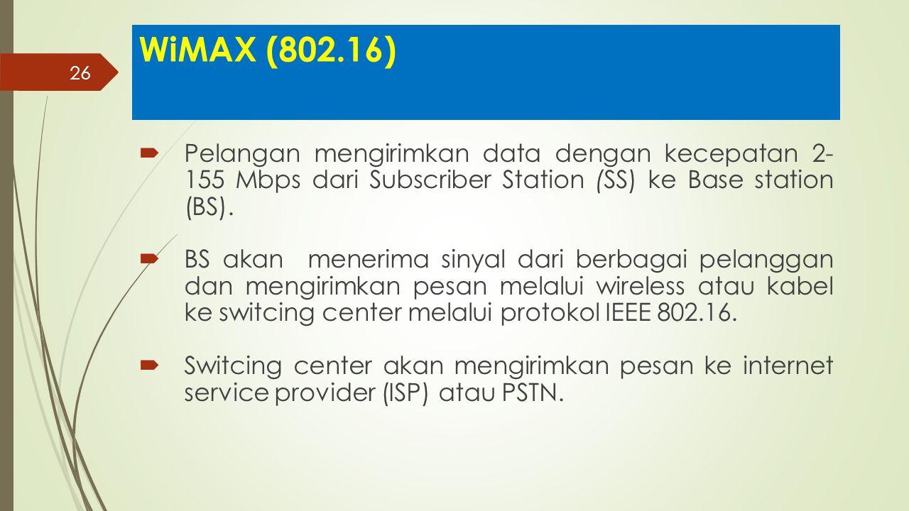 26 WiMAX (802.16)  Pelangan mengirimkan data dengan kecepatan 2- 155 Mbps dari Subscriber Station (SS) ke Base station (BS).  BS akan menerima sinya