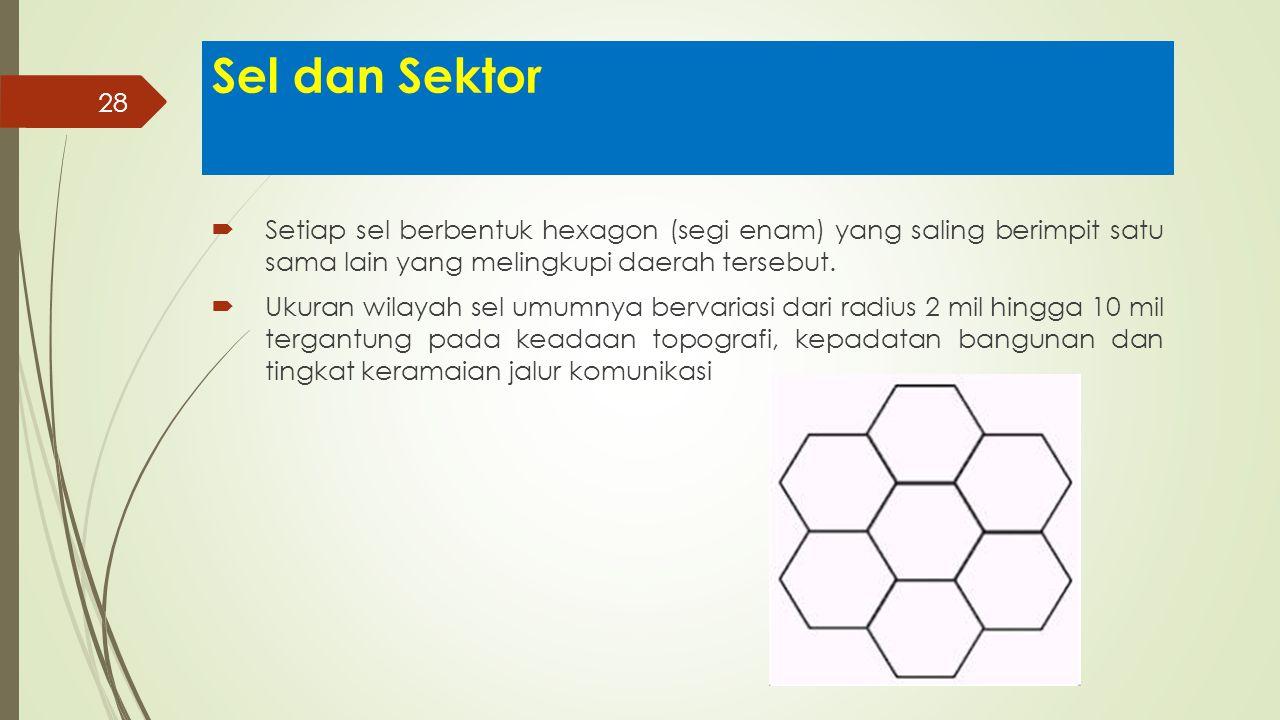28 Sel dan Sektor  Setiap sel berbentuk hexagon (segi enam) yang saling berimpit satu sama lain yang melingkupi daerah tersebut.  Ukuran wilayah sel