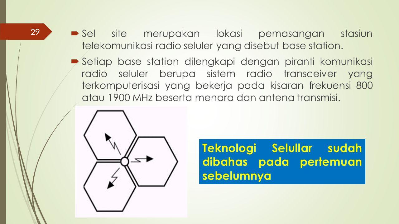 29  Sel site merupakan lokasi pemasangan stasiun telekomunikasi radio seluler yang disebut base station.  Setiap base station dilengkapi dengan pira