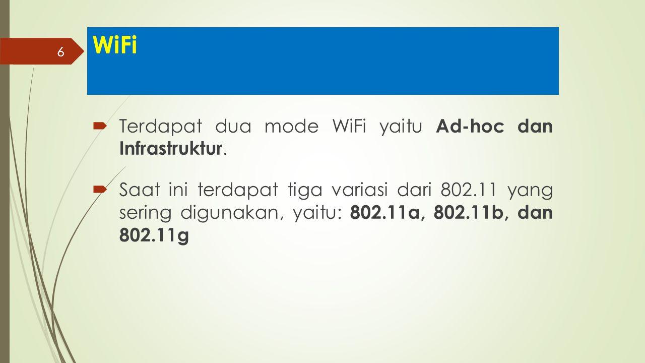 6 WiFi  Terdapat dua mode WiFi yaitu Ad-hoc dan Infrastruktur.  Saat ini terdapat tiga variasi dari 802.11 yang sering digunakan, yaitu: 802.11a, 80