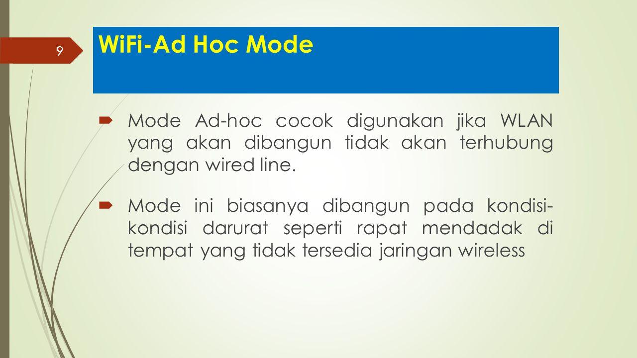 9 WiFi-Ad Hoc Mode  Mode Ad-hoc cocok digunakan jika WLAN yang akan dibangun tidak akan terhubung dengan wired line.  Mode ini biasanya dibangun pad