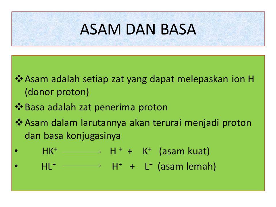 ASAM DAN BASA  Asam adalah setiap zat yang dapat melepaskan ion H (donor proton)  Basa adalah zat penerima proton  Asam dalam larutannya akan terur
