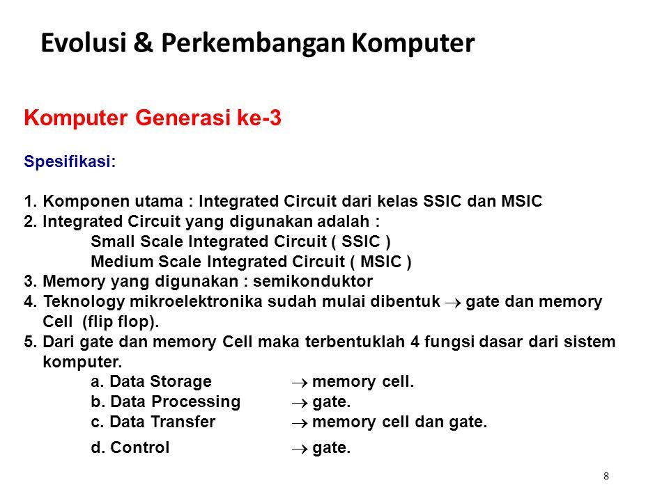 8 Evolusi & Perkembangan Komputer Komputer Generasi ke-3 Spesifikasi: 1. Komponen utama : Integrated Circuit dari kelas SSIC dan MSIC 2. Integrated Ci