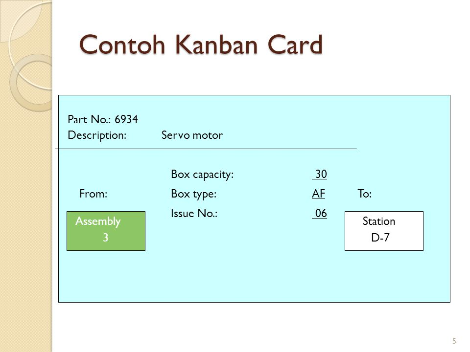 6 Sample Kanban Card Market Address > Kanban Number > Line-Side Address > Part Number > Route > Part Description > Bar Code Area Dock Code > Supplier Code > Quantity > Serial Number Comment: >