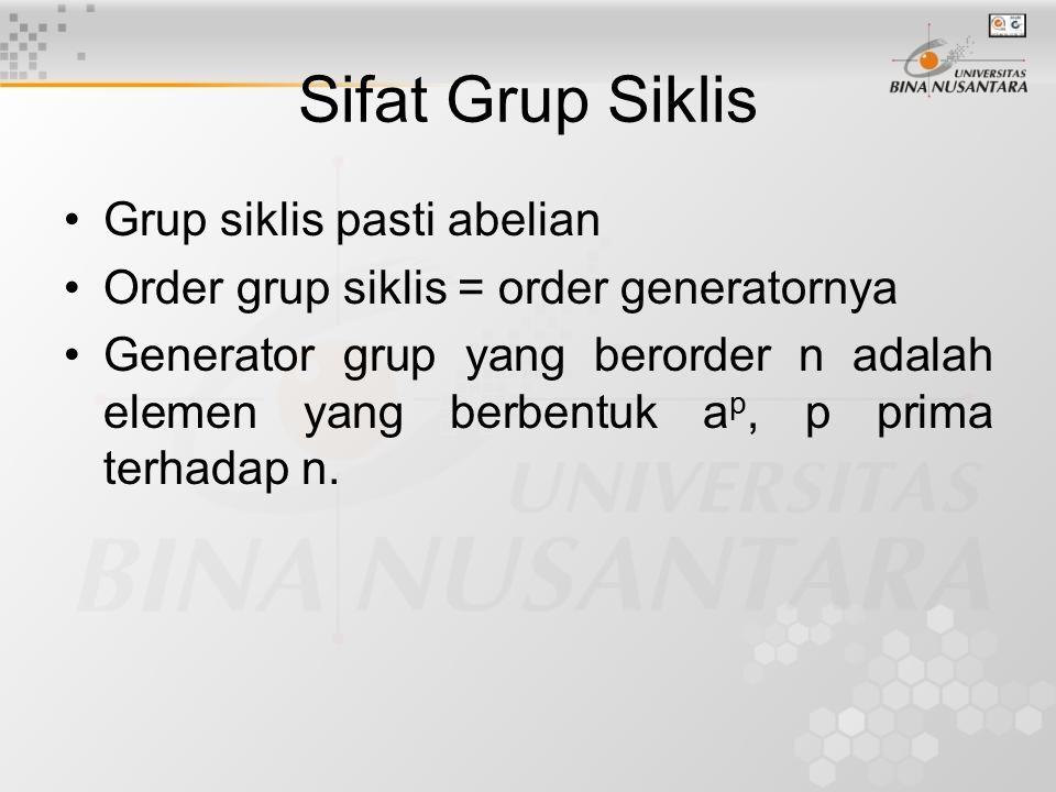 Sifat Grup Siklis Grup siklis pasti abelian Order grup siklis = order generatornya Generator grup yang berorder n adalah elemen yang berbentuk a p, p