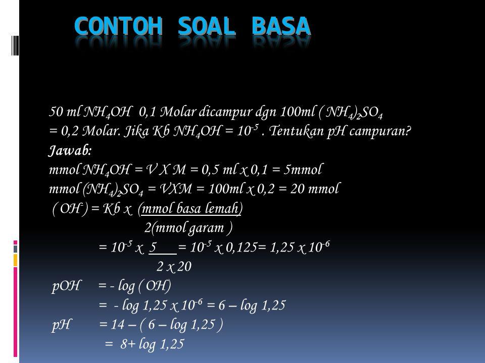 Ke dalam larutan CH 3 COOH ditambahkan padatan CH 3 COONa, shg konsentrasi CH 3 COOH = 0,1 Molar dan konsentrasi CH 3 COONa = 0,05 Molar. Jika Ka CH 3