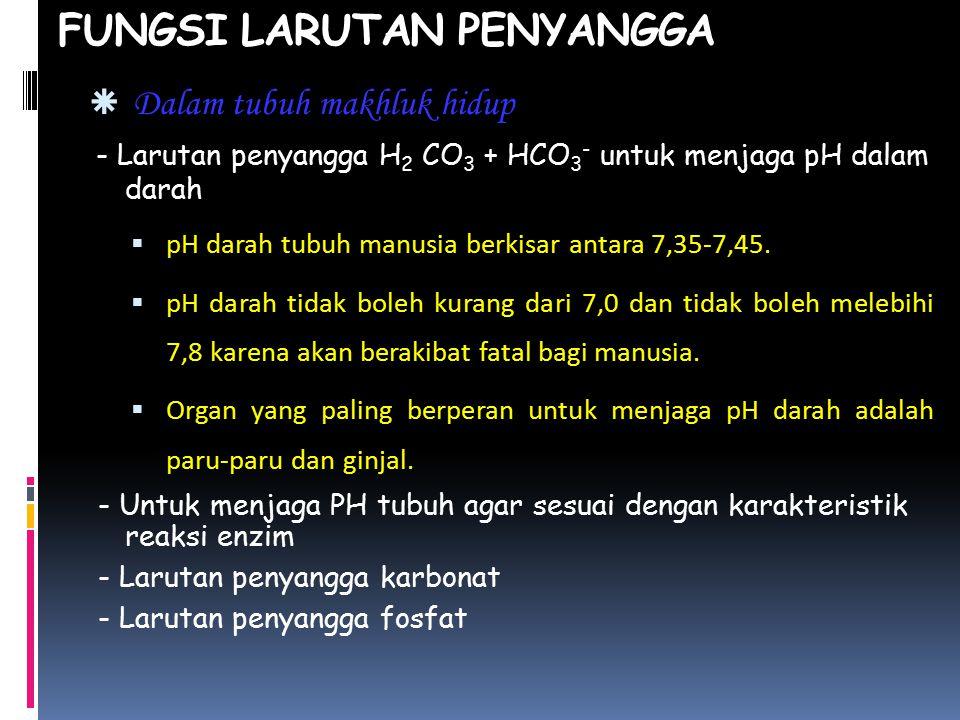 FUNGSI LARUTAN PENYANGGA  Dalam tubuh makhluk hidup - Larutan penyangga H 2 CO 3 + HCO 3 - untuk menjaga pH dalam darah  pH darah tubuh manusia berkisar antara 7,35-7,45.