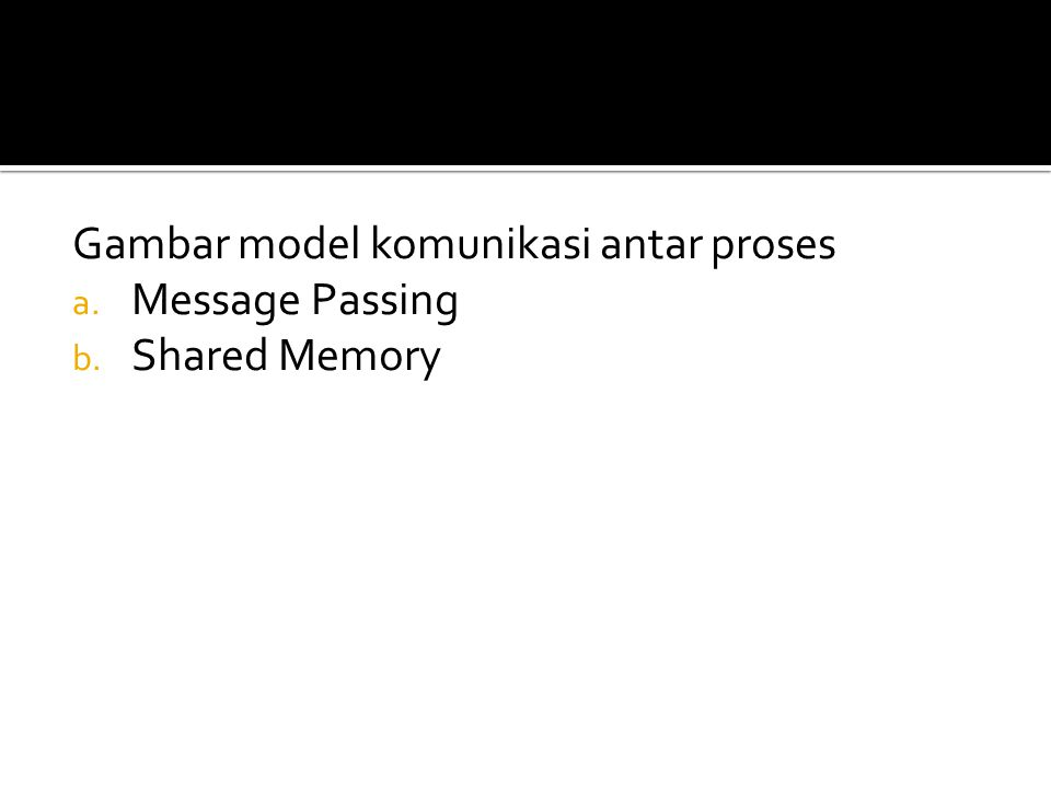 Gambar model komunikasi antar proses a. Message Passing b. Shared Memory