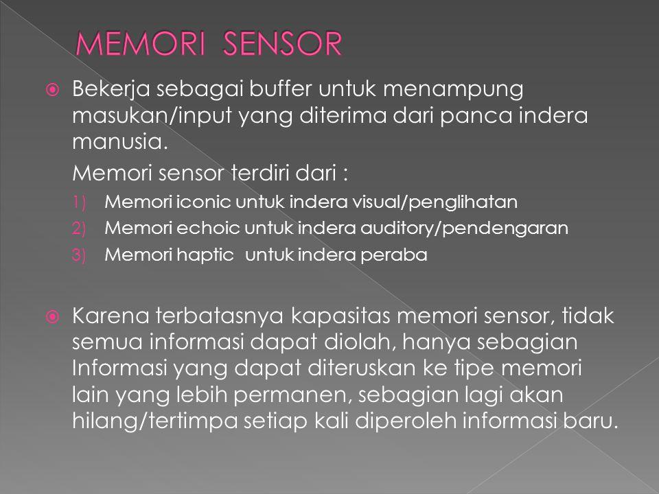  Bekerja sebagai buffer untuk menampung masukan/input yang diterima dari panca indera manusia. Memori sensor terdiri dari : 1) Memori iconic untuk in