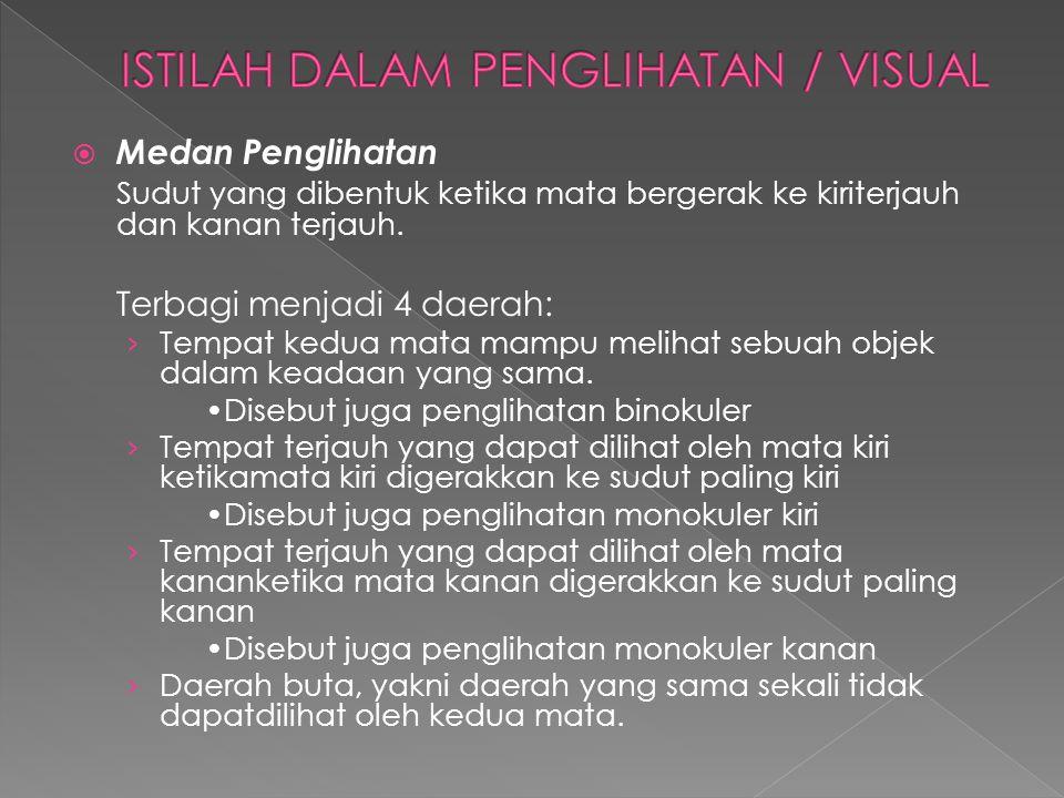  Medan Penglihatan Sudut yang dibentuk ketika mata bergerak ke kiriterjauh dan kanan terjauh. Terbagi menjadi 4 daerah: › Tempat kedua mata mampu mel