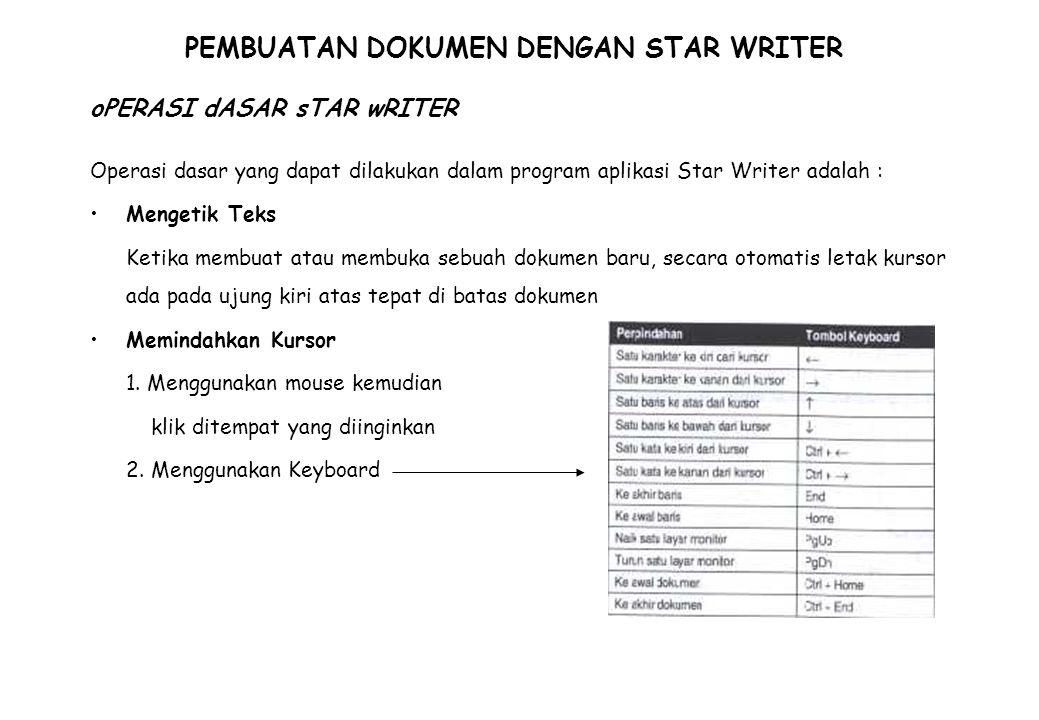 PEMBUATAN DOKUMEN DENGAN STAR WRITER Operasi dasar yang dapat dilakukan dalam program aplikasi Star Writer adalah : Mengetik Teks Ketika membuat atau