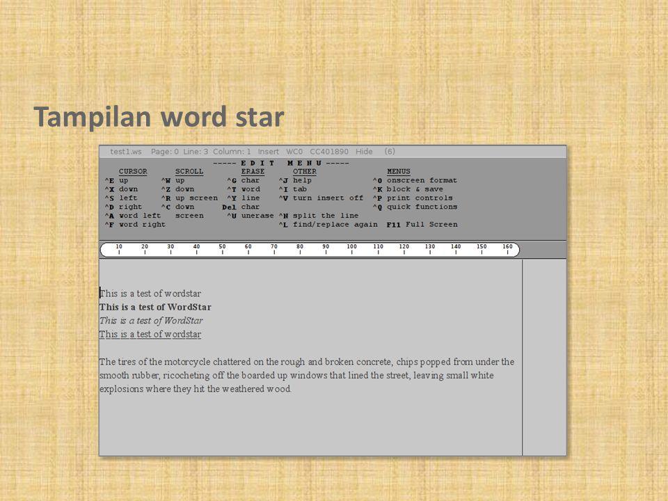 Tampilan word star