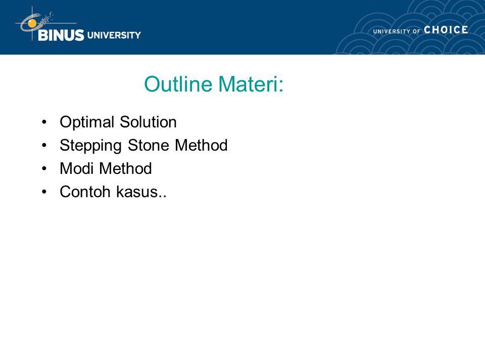 Learning Outcomes Mahasiswa dapat menghitung solusi model transportasi dengan metode yg optimal, stepping stone & modi..