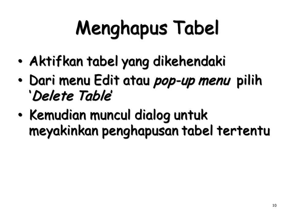 Menghapus Tabel Aktifkan tabel yang dikehendaki Aktifkan tabel yang dikehendaki Dari menu Edit atau pop-up menu pilih 'Delete Table' Dari menu Edit atau pop-up menu pilih 'Delete Table' Kemudian muncul dialog untuk meyakinkan penghapusan tabel tertentu Kemudian muncul dialog untuk meyakinkan penghapusan tabel tertentu 10