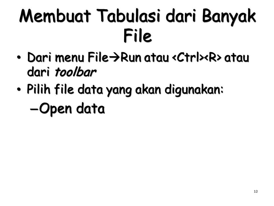 Membuat Tabulasi dari Banyak File Dari menu File  Run atau atau dari toolbar Dari menu File  Run atau atau dari toolbar Pilih file data yang akan digunakan: Pilih file data yang akan digunakan: – Open data 12