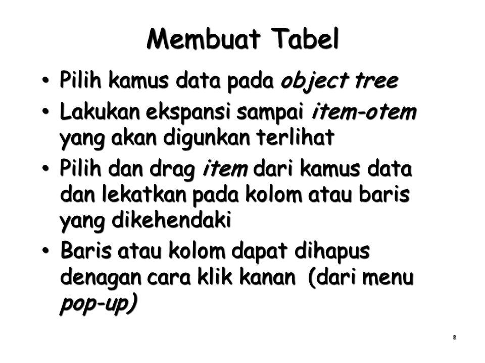 Membuat Tabel Pilih kamus data pada object tree Pilih kamus data pada object tree Lakukan ekspansi sampai item-otem yang akan digunkan terlihat Lakuka