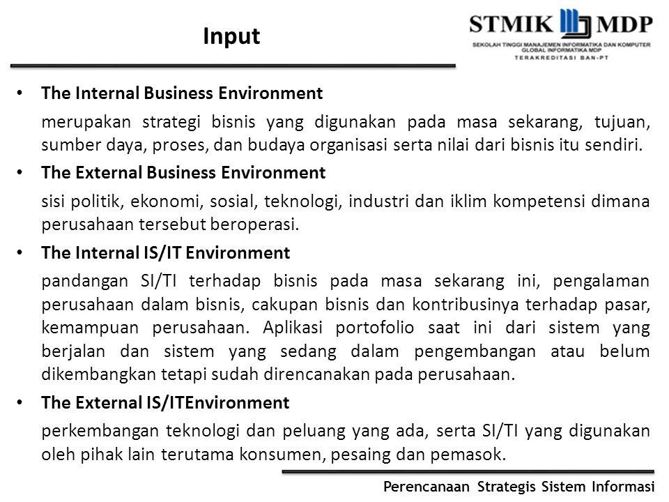 Perencanaan Strategis Sistem Informasi Input The Internal Business Environment merupakan strategi bisnis yang digunakan pada masa sekarang, tujuan, su