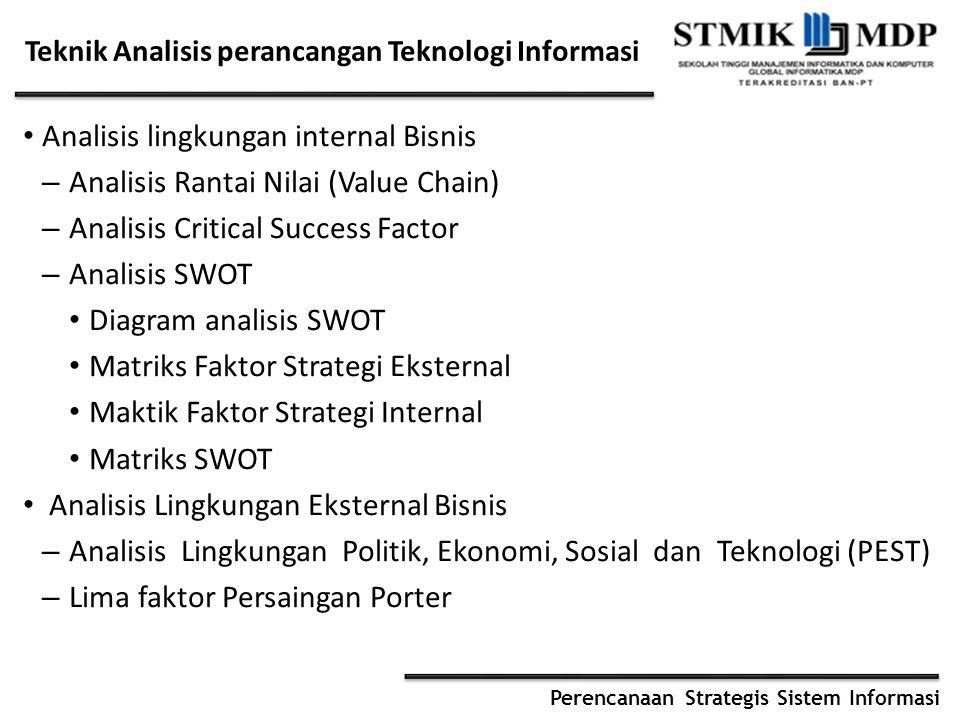Perencanaan Strategis Sistem Informasi Teknik Analisis perancangan Teknologi Informasi Analisis lingkungan internal Bisnis – Analisis Rantai Nilai (Va