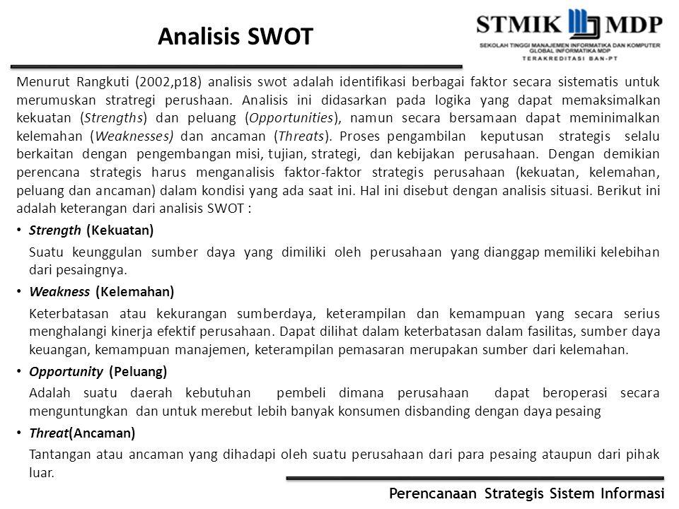 Perencanaan Strategis Sistem Informasi Analisis SWOT Menurut Rangkuti (2002,p18) analisis swot adalah identifikasi berbagai faktor secara sistematis u