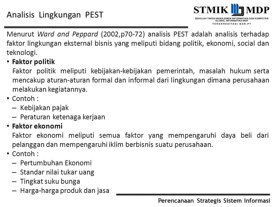 Perencanaan Strategis Sistem Informasi Analisis Lingkungan PEST Menurut Ward and Peppard (2002,p70-72) analisis PEST adalah analisis terhadap faktor l