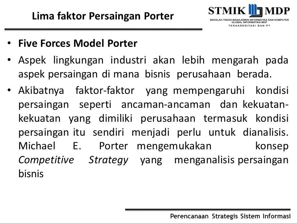 Perencanaan Strategis Sistem Informasi Lima faktor Persaingan Porter Five Forces Model Porter Aspek lingkungan industri akan lebih mengarah pada aspek