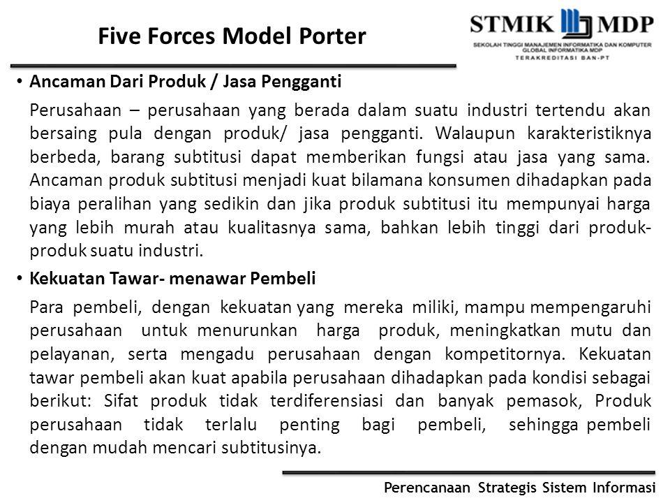 Perencanaan Strategis Sistem Informasi Five Forces Model Porter Ancaman Dari Produk / Jasa Pengganti Perusahaan – perusahaan yang berada dalam suatu i
