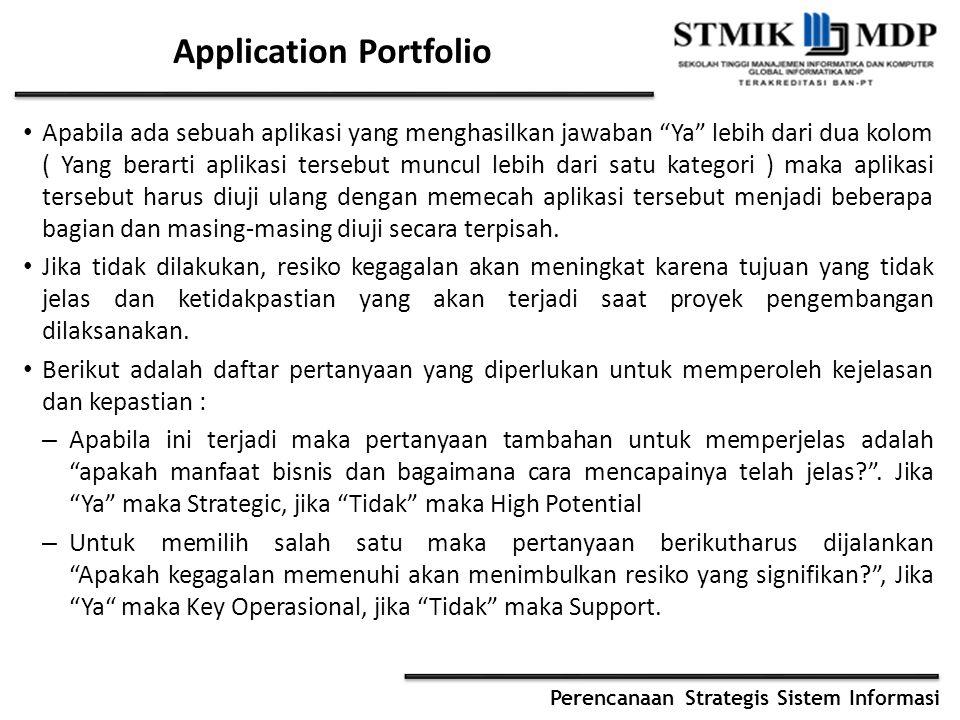 """Perencanaan Strategis Sistem Informasi Application Portfolio Apabila ada sebuah aplikasi yang menghasilkan jawaban """"Ya"""" lebih dari dua kolom ( Yang be"""