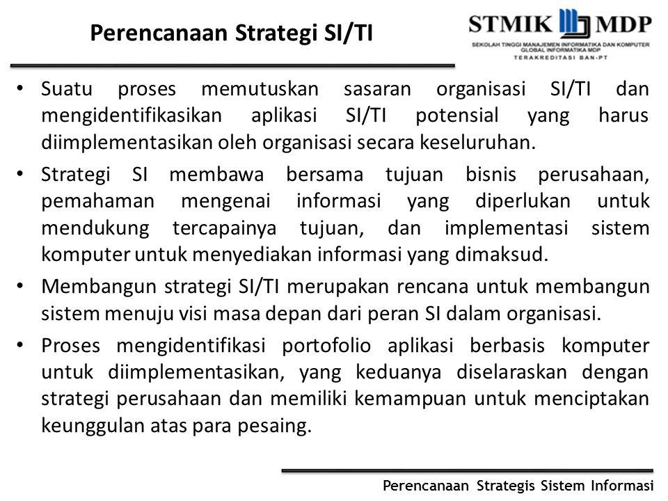 Perencanaan Strategis Sistem Informasi Perencanaan Strategi SI/TI Suatu proses memutuskan sasaran organisasi SI/TI dan mengidentifikasikan aplikasi SI