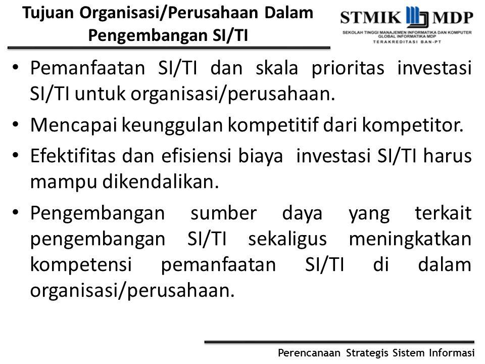 Perencanaan Strategis Sistem Informasi Tujuan Organisasi/Perusahaan Dalam Pengembangan SI/TI Pemanfaatan SI/TI dan skala prioritas investasi SI/TI unt
