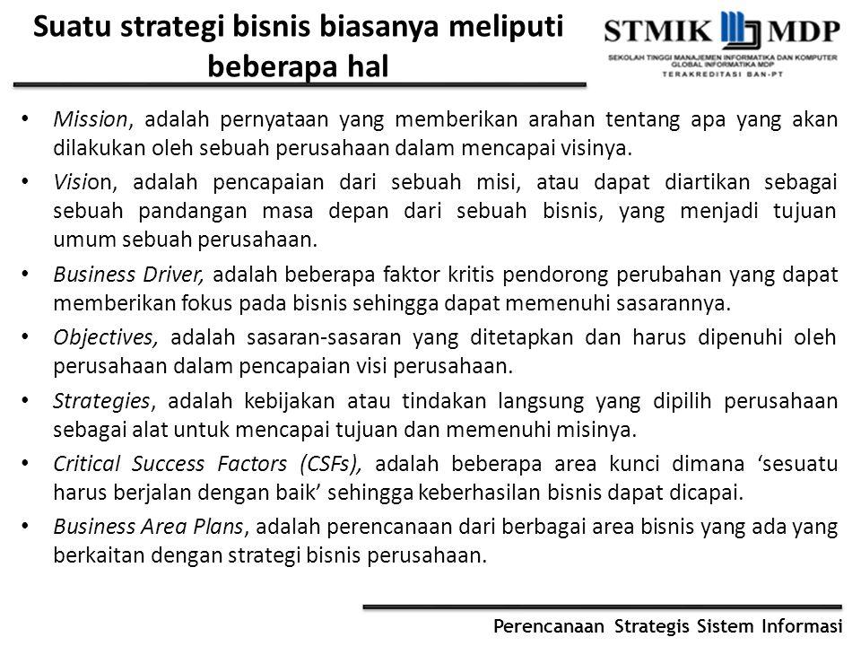 Perencanaan Strategis Sistem Informasi Suatu strategi bisnis biasanya meliputi beberapa hal Mission, adalah pernyataan yang memberikan arahan tentang