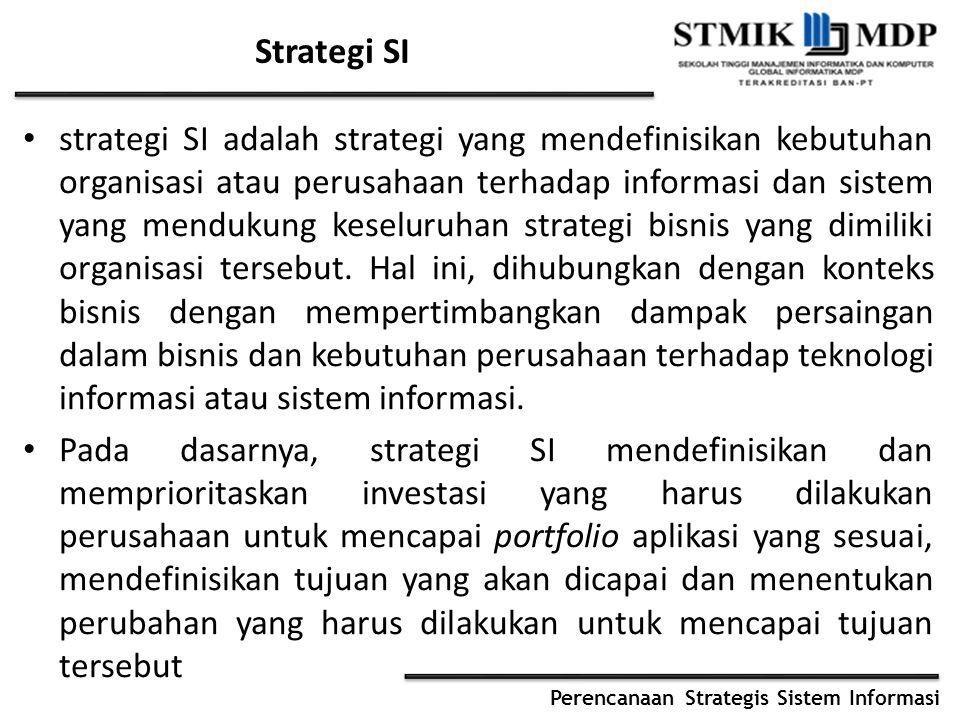 Perencanaan Strategis Sistem Informasi Strategi SI strategi SI adalah strategi yang mendefinisikan kebutuhan organisasi atau perusahaan terhadap infor