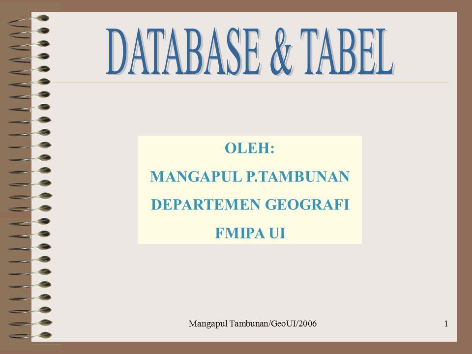 Mangapul Tambunan/GeoUI/20061 OLEH: MANGAPUL P.TAMBUNAN DEPARTEMEN GEOGRAFI FMIPA UI
