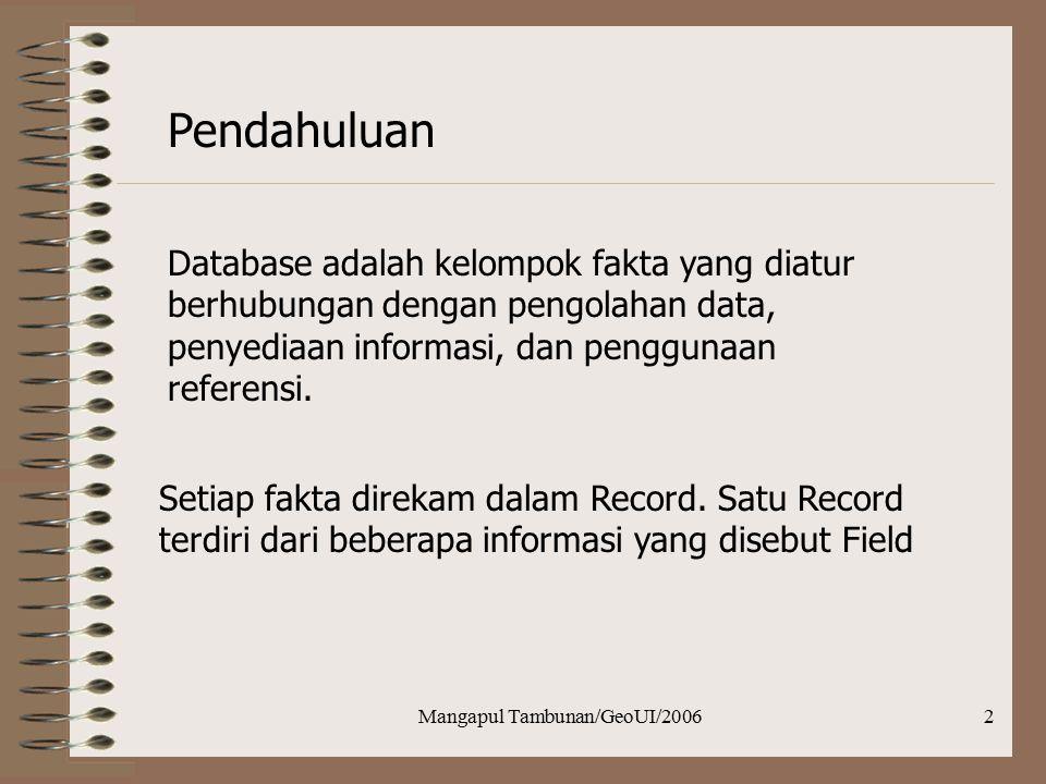 Mangapul Tambunan/GeoUI/20062 Pendahuluan Database adalah kelompok fakta yang diatur berhubungan dengan pengolahan data, penyediaan informasi, dan pen