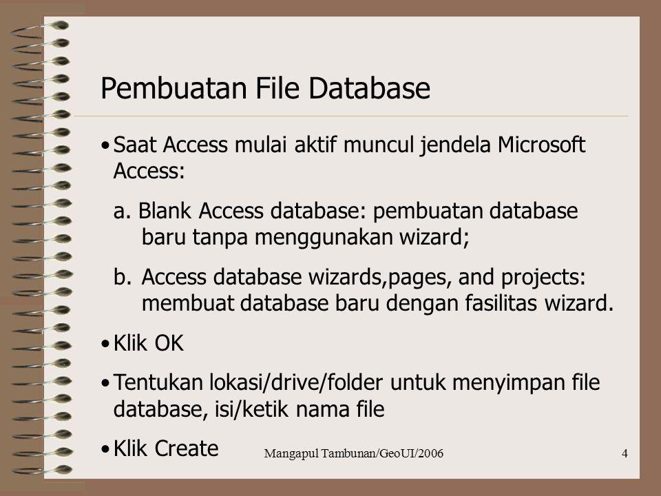 Mangapul Tambunan/GeoUI/20064 Pembuatan File Database Saat Access mulai aktif muncul jendela Microsoft Access: a. Blank Access database: pembuatan dat