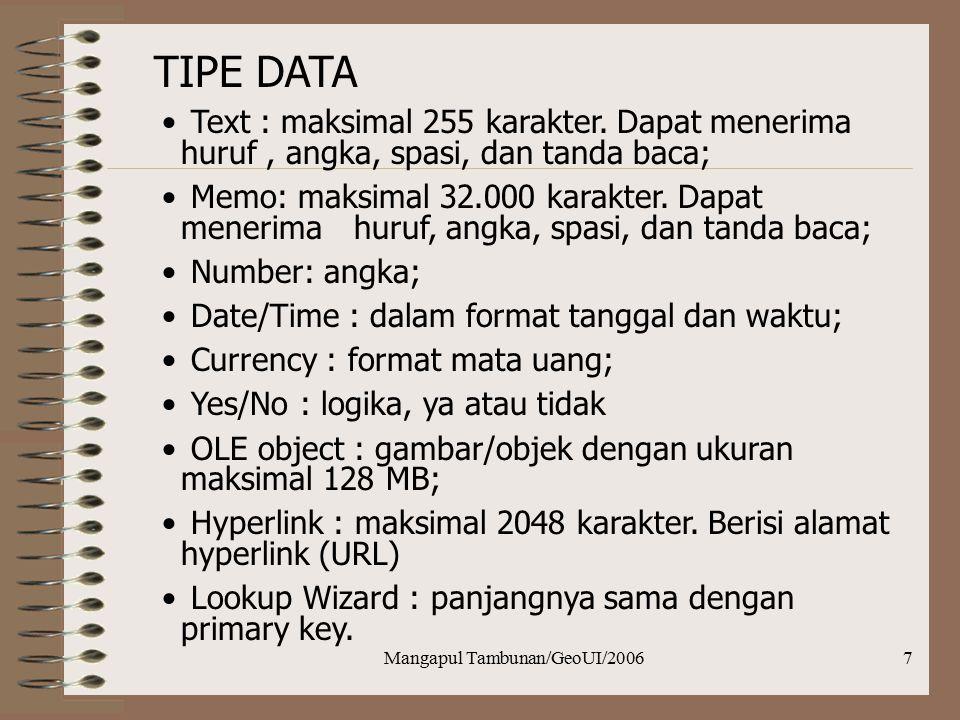 Mangapul Tambunan/GeoUI/20067 TIPE DATA Text :maksimal 255 karakter. Dapat menerima huruf, angka, spasi, dan tanda baca; Memo: maksimal 32.000 karakte