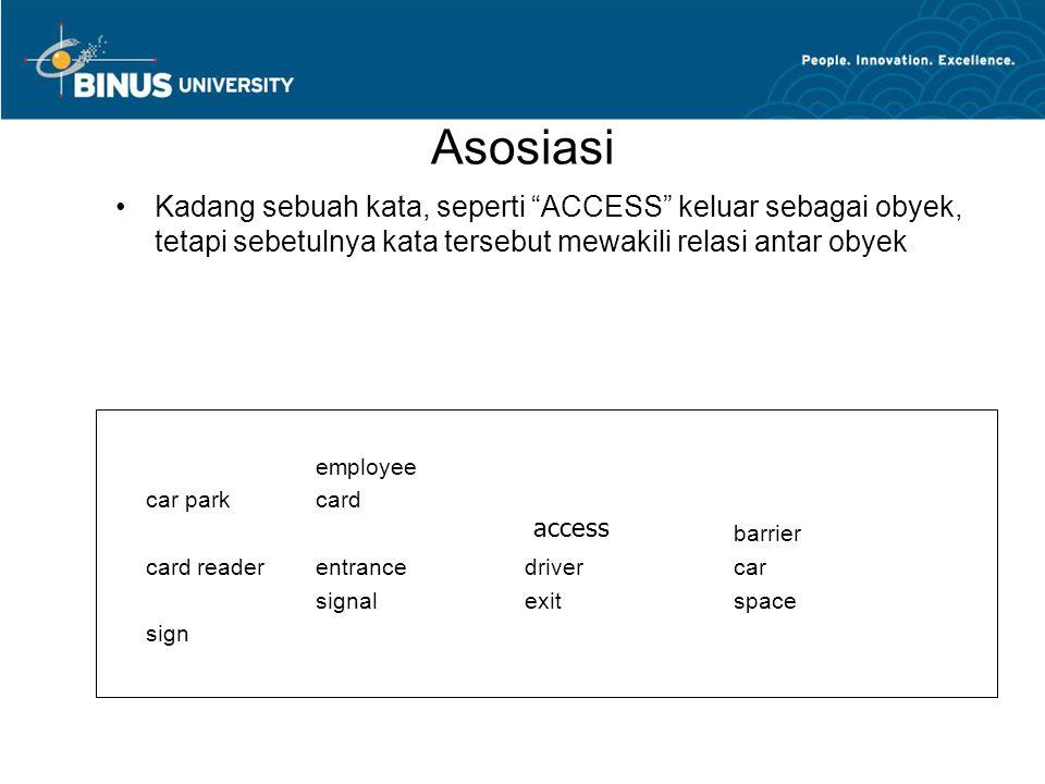 Asosiasi Kadang sebuah kata, seperti ACCESS keluar sebagai obyek, tetapi sebetulnya kata tersebut mewakili relasi antar obyek employee car parkcard barrier card readerentrancedrivercar signalexitspace sign access
